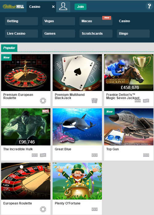 william-hill-mobile-casino-dropdown