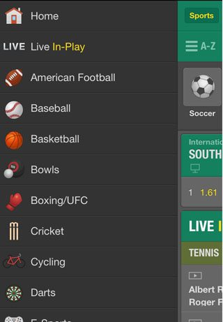 bet365-mobile-app-menu-screenshot